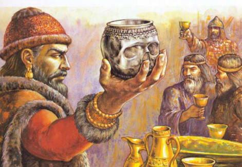 Han-Krum-derzhit-chashu-iz-cherepa-imperatora-Nikifora